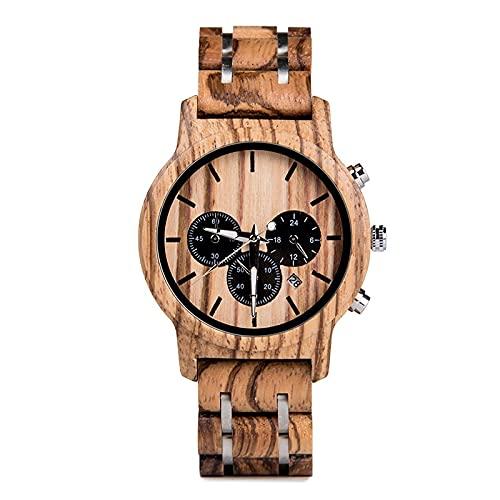 yuyan Reloj de Madera para Hombre Modelo de Calendario de Movimiento japonés Modelo de Acero de Madera de Tres Ojos Combinación de tecnología y Naturaleza Vacaciones Ma