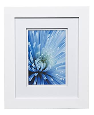 """Snap 8x10 Flat Double Mat for 5x7 Photo, Wall Mount & Tabletop Picture Frame, 5"""" x 7"""", White"""