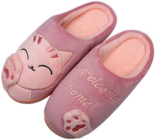 Mishansha Inverno Donna Pantofole da Casa Caldo Comfort Gatto Cartoon Pantofole Peluche Morbido Antiscivolo Gattino Scarpe da Casa, Cat-Rosso, 37/38 EU=38/39 CN