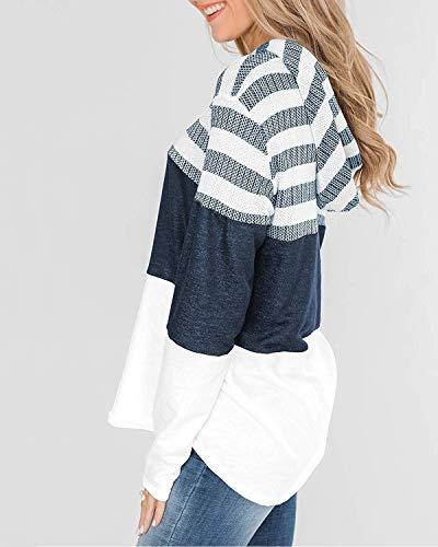 ABYOVRT Mujer Sudadera con Capucha Manga Larga Jerséis Sueltos Sudadera con Estampado la Camiseta Otoño Invierno Mujer Chándal,Z Blanco,L