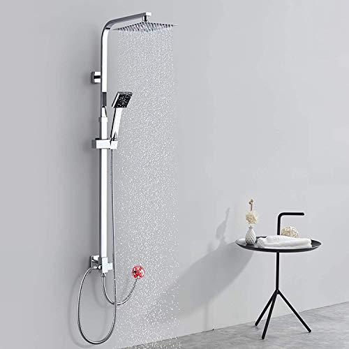 BONADE Duschsystem Duschset ohne Armatur Brausegarnitur mit Duschkopf eckig Handbrause Badewanne Regendusche Edelstahl Duschsäule Höhenverstellbare Duschstange für Badzimmmer
