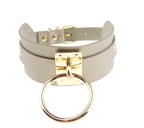 Glamour Girlz Ladies Gothic Retro Punk Leather Look O Ring Neck Collar Choker Necklace (Grey Gold Tone)