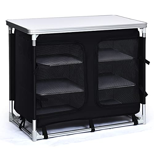 Giantex Camping Cook Table Kitchen Station with Storage Organizer and Carrying Bag, for BBQ Party Picnics Backyards and Tailgating, Portable Outdoor Aluminum Cooking BBQ Table