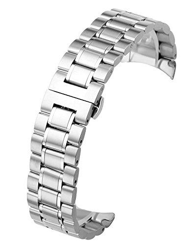 JSDDE Reloj de pulsera, pulsera de acero inoxidable sólido extremo curvado Link correa de banda de repuesto mariposa deployant hebilla doble empuje primavera 3filas cierre desplegable correa de metal