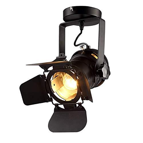 GPZ-iluminación de techo Focos, luces de riel LED Tienda de ropa Bar Restaurante Lámparas de techo, Focos de hierro industriales retro E27 Lámparas de techo Lámparas de techo [Clase energética A ++]