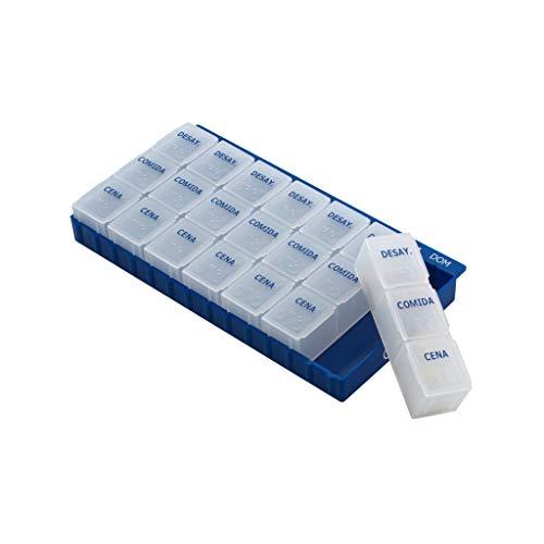 Wekelijkse pillendoos 3 grote pillen per dag