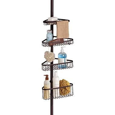 InterDesign York Constant Tension Corner Shower Caddy – Bathroom Storage Shelves for Shampoo, Conditioner, Soap and Razors, Bronze