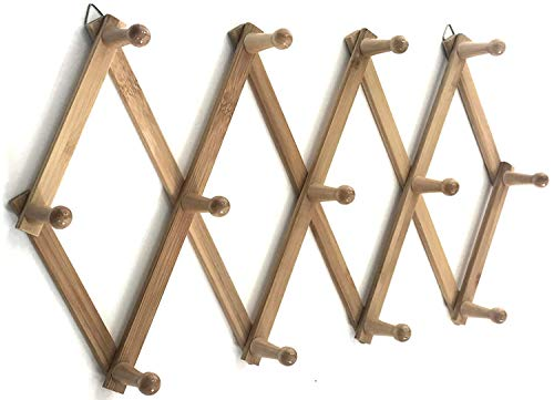 Azi Excellent Quality Bamboo Rack - Accordion Style Expandable Wall Mounted Rack - 13 PegsHooks 2'' Long Pegs for Hat Caps Belt Umbrella Coffee Mug Jewelry Elegant Eco-Friendly
