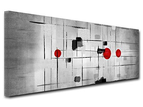 DECLINA - Cuadro de gran formato, reproducción cuadro sobre lienzo, decoración de salón, lienzo moderno, cuadro panorámico moderno, 120 x 50 cm, negro y blanco