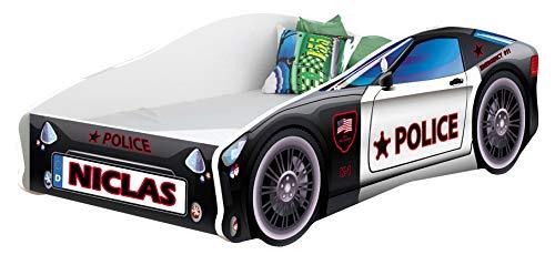 Kinderbett Autobett Auto Junior mit Lattenrost und Matratze 140x70 160x80 180x80 ACMA (160x80, 3 + Name)