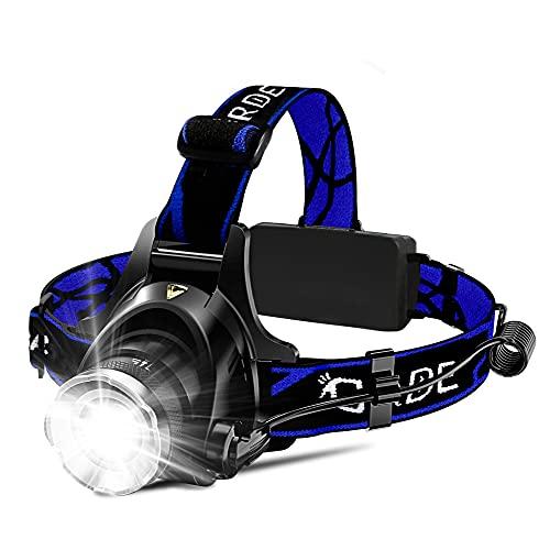 Headlamp, Upgrade 8000 High Lumens Ultra Bright Headlamp, 3 Modes Micro-USB Rechargeable LED Work Headlight Waterproof Flashlights Headlamps for Adults Running Camping Fishing Hiking Biking