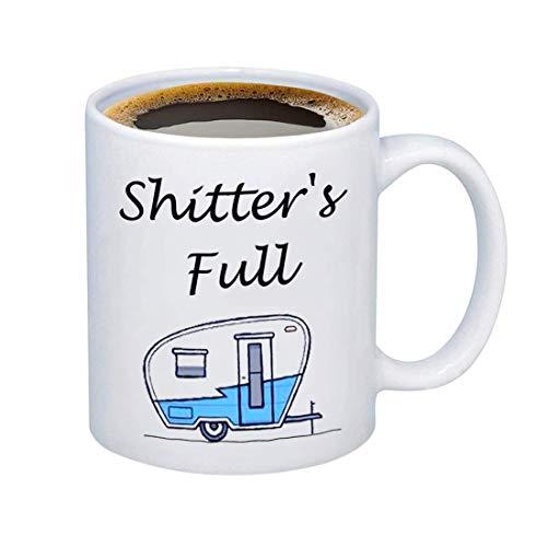 Hollp Caravan Kaffeebecher Shitter\'s Full Mugs Happy Camper Wohnmobil Becher Camping Touring Wohnwagen Liebhaber Becher Shitter\'s Full Mug