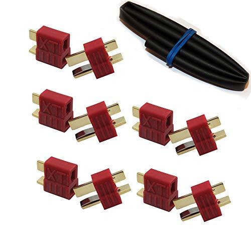 ikarex-shop 5 oder 10 Paar T-Plug mit Grip Deans Stecker / Buchse mit Schrumpfschlauch Steckverbinder Dean T Plug RC Akku Lipo 5X 10x (5 Paar)