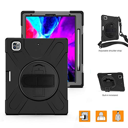 iPad Pro 12.9 Case 2020 with Pencil Holder for Wireless Charging | TSQ iPad Pro Case 12.9 Heavy Duty Shockproof Hard Rugged Protective Case with Stand/Shoulder Strap for iPad 12.9 2020 Case | Black