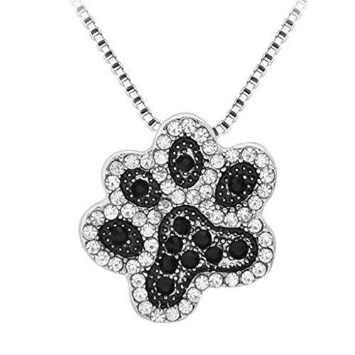 ICHQ 1x Halskette Kreative Haustier Hundekrallen Design Anhänger Necklace Legierung ClavicleKette Schmuck Zubehör Halsketten (Schwarz)