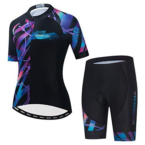 JPOJPO Conjunto de camiseta de ciclismo para mujer, manga corta, con 5D acolchado, transpirable, de secado rápido, 3 bolsillos, Cf2380, XXL for Chest41.7-44.8',Max Waist38'