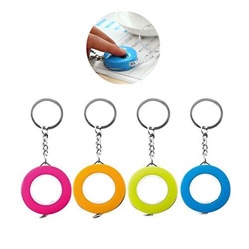 Qiajie 4 PCS Llavero retráctil portátil Cinta métrica Regla de plástico blando 1.5m Regla de cinta suave retráctil para coser Cinta métrica a medida