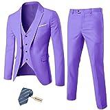 MY'S Men's 3 Piece Suit Blazer Slim Fit One Button Notch Lapel Dress Business Wedding Party Jacket Vest Pants & Tie Set Purple, S, 5'7-5'10, 140-160lbs