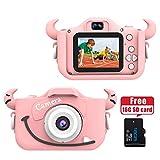 Wurkkos Caméra Numérique pour Enfants, Camera 12,0MP avec Coque en Silicone pour Fille ou garçon de 3 à 10 Ans, idéal pour Un Cadeau.Caméra HD avec écran 1080p Deux Pouces, Carte mémoire 16GB