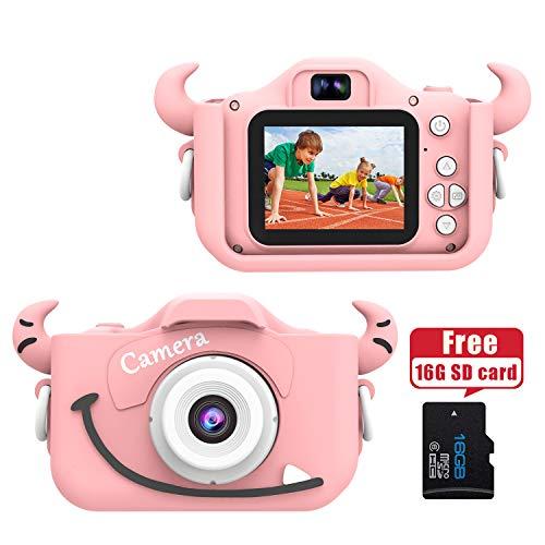 """Wurkkos Kids Digital Camera,12.0 Megapixel Kamera mit Einer kindgerechten,Niedlichen Silikonhülle,geeignet als Geburtstagsgeschenk BZW.Spielzeug,2.0""""Display 1080P HD Kamera mit 16GB SD Karte,Rosa"""