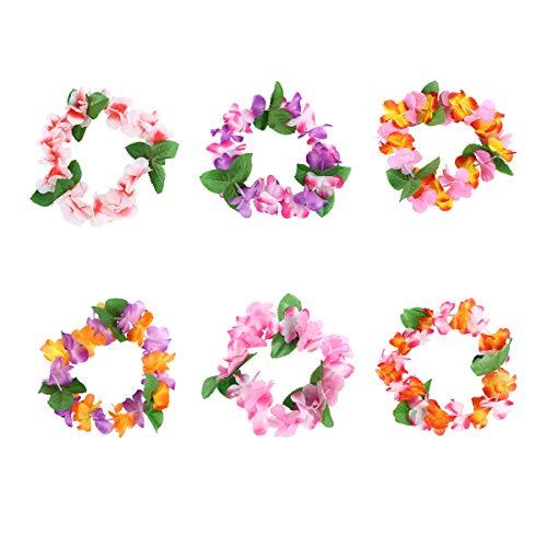 STOBOK Luau - Diadema hawaiana tropical con flores, pieza para la cabeza, corona tropical para fiestas, 6 unidades (al azar)
