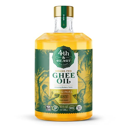 Original High Heat Cooking Oil by 4th & Heart | Blend of Grass-fed Ghee, Avocado, and Grapeseed Oils | Non-GMO Verified | Keto-friendly, Certified Paleo, Lactose Free | 16 ounce