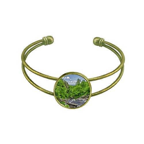 Bracelete retrô com estampa florestal, ciência, natureza, cenário