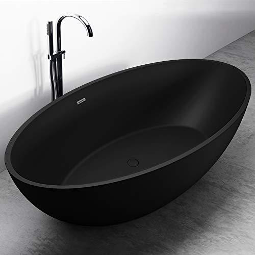 Freistehende Badewanne aus Mineralguss RELAX schwarz matt - 176x103cm