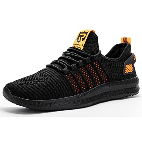 Larnmern Plus Zapatillas Hombre Deportes Causul Calzado Negro Naranja 47