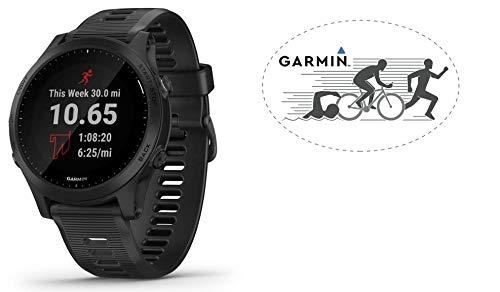 HRM Garmin Forerunner 945 GPS Running Watch Black Bundle with 6x4 Oval Car Magnet (Swim Bike Run)