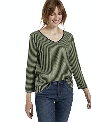TOM TAILOR Damen Streifen-Struktur T-Shirt, 25211-green Navy Popcorn s, XXXL