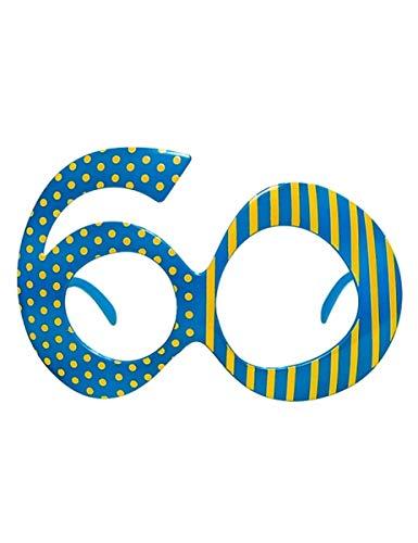 """Partydeco Gafas con Forma de número 60\"""", con Lunares y Rayas, Color Azul/Amarillo, okr9–60"""