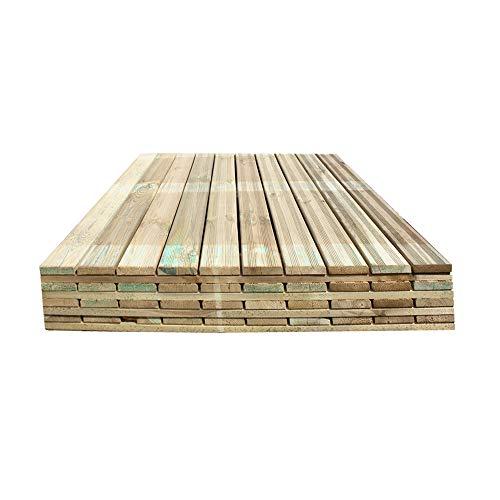 Mattonelle per Esterno in Legno di Pino Impregnato 100x100 cm, Confezione 4 Piastrelle - 4 Mq, Pavimento per Giardino Spessore 3,8 cm