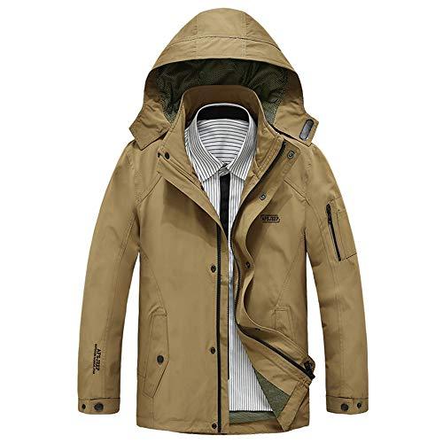 FWJ-clothes Herren Jacken Mäntel Windjacke leichte Jacke windundurchlässige Wanderjacke Outdoorjacke Sport Mantel mit Kapuze,Khaki,3XL