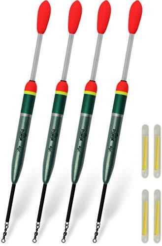 Storfisk fishing & more 4 Knicklichtposen mit Wirbel inkl. 4 Knicklichter zum Angeln auf Zander und Aal, Gewicht:Set