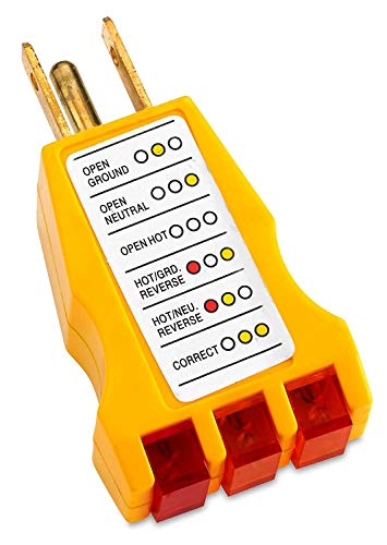 Katzco Receptacle Tester - Ideal for 110-125 Vac 3 Wire Receptacles. Tester Indicates Open Ground, Open Hot, Open Neutral, Hot and Ground Reverse, Hot and Neutral Reverse and Correct