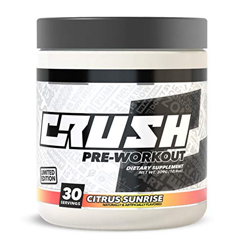 CRUSH Pre-Workout - Clean & Consistent Energy, Deep Focus, Great Pumps. No Fillers, No Dyes, No Tingles, No Proprietary Blends (Citrus Sunrise)
