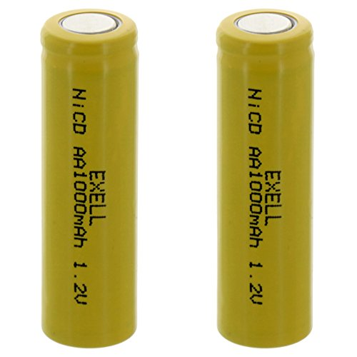 2x Exell AA 1.2V 1000mAh NiCD Flat Top Rechargeable Batteries for meters, radios, hybrid automobiles, high power static applications (Telecoms, UPS and Smart grid), radio controlled devices