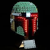 Morton3654Mam Juego de luces LED para casco Lego Boba Fett 75277, juego de iluminación compatible con bloques de construcción Lego 75277, sin juego de Lego, controlado por placa de identificación.