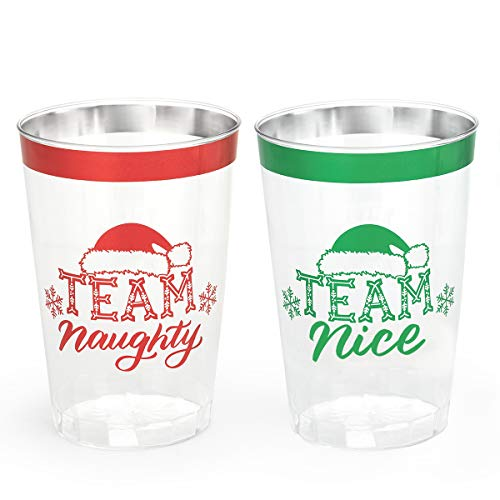 xo, Fetti Christmas Decorations Cups - 30 count, 12 oz | Team Naughty or Nice, Christmas Eve Disposable Drinkwear, Clear Plastic Cocktail Tumbler with Foil