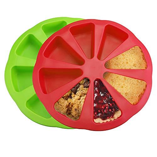 LYTIVAGEN 2 Stück Silikon Backform Kuchenform mit 8 Hohlräume Kuchen Portion Form Dreieck Silikonform Kuchen Backform zum Backen Brot, Kuchen, Pizza, DIY Siefen(Rot, Grün)