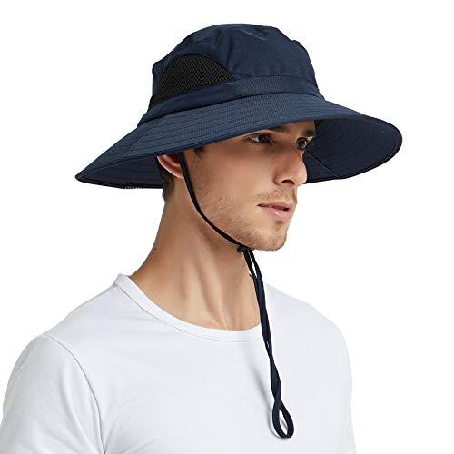 EINSKEY Sun Hat for Men/Women, Outdoor Sun Protection Wide Brim Bucket Hat Waterproof Breathable Packable Boonie Hat for Safari Fishing Beach Golf (Navy Blue)