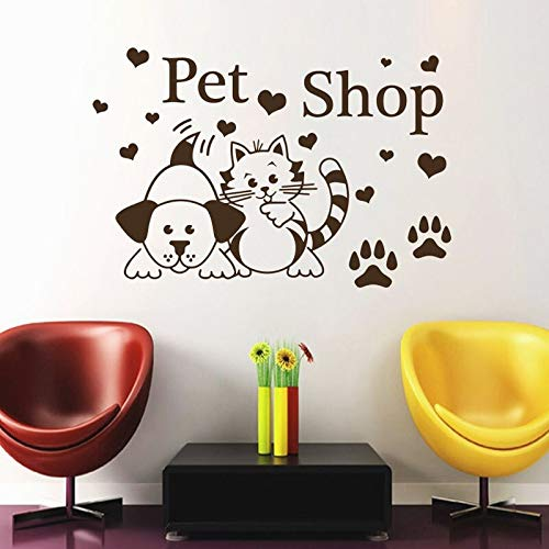 Uiewle Pet Shop Wall Sticker cat and Dog paw Print Heart Shape Salon Wall Decal Decoration Vinyl Decal 68x102cm
