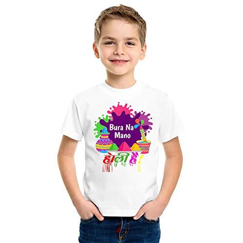 Print Holi T-Shirt for Kids Printed Happy Holi Round Neck Matte Tshirts All Aizes (13-14 Years) White