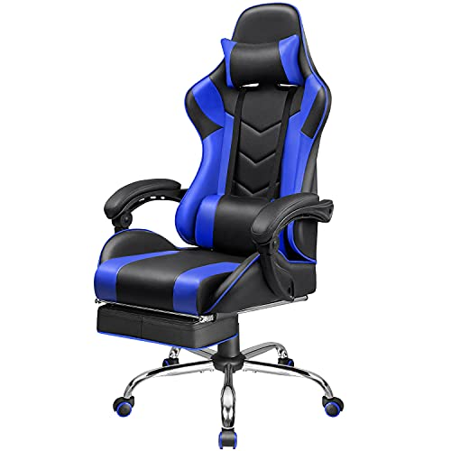 Homall Gaming Chair Computer Chair Racing Style Gaming Chair with Footrest Ergonomic Adjustable Swivel Office Chair High Back Computer Chair with Headrest and Lumbar Support (Blue)