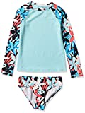 Kanu Surf Girls' Long Sleeve Rashguard Two Piece Swim Set, Rowan Blue, 4T