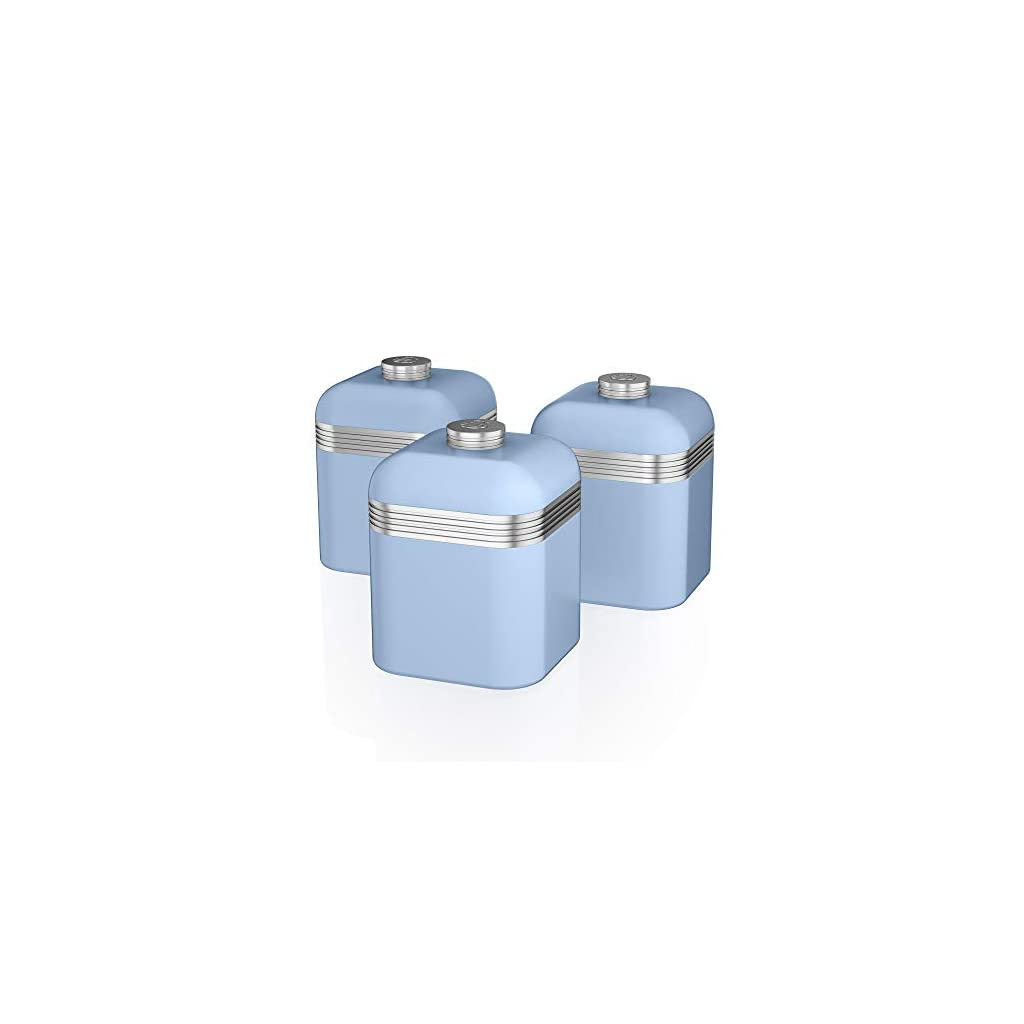Swan Retro Kitchen Storage Canisters - Duck Egg Blue