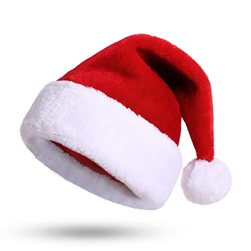KONVINIT Weihnachtsmütze Kinder Nikolausmütze plüsche weihnachtsmann mütze Rote Santa Mütze Nikolaus Dicker Fellrand aus Plüsch kuschelweich & angenehm
