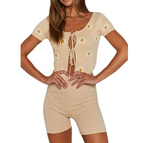 Camiseta sin mangas sexy de manga corta con estampado floral abierto frente amarrar camisola Cardigan Y2K blusa