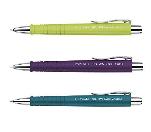 3 Stück Faber-Castell Kugelschreiber Set POLY BALL Lime Petrol Lila Druckkugelschreiber, Großraum Mine blau 0,5mm XB, ergonomische Dreieckform, rutschfest, Clip, dokumentenecht + GRATIS Ersatzmine